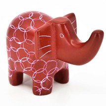 Vaneal Group Hand Carved Kisii Soapstone Red Elephant Figurine Made in Kenya