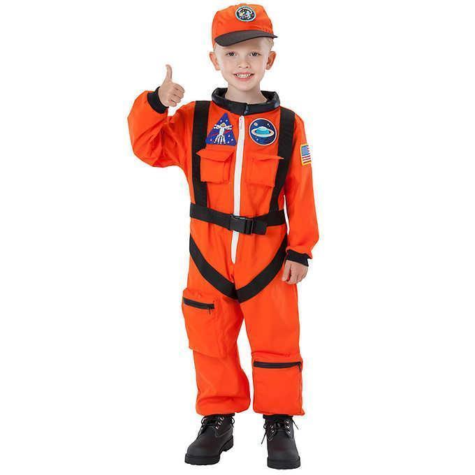 Astronaut Orange Boy's Kids Costume Halloween Party Select Size CHEAP