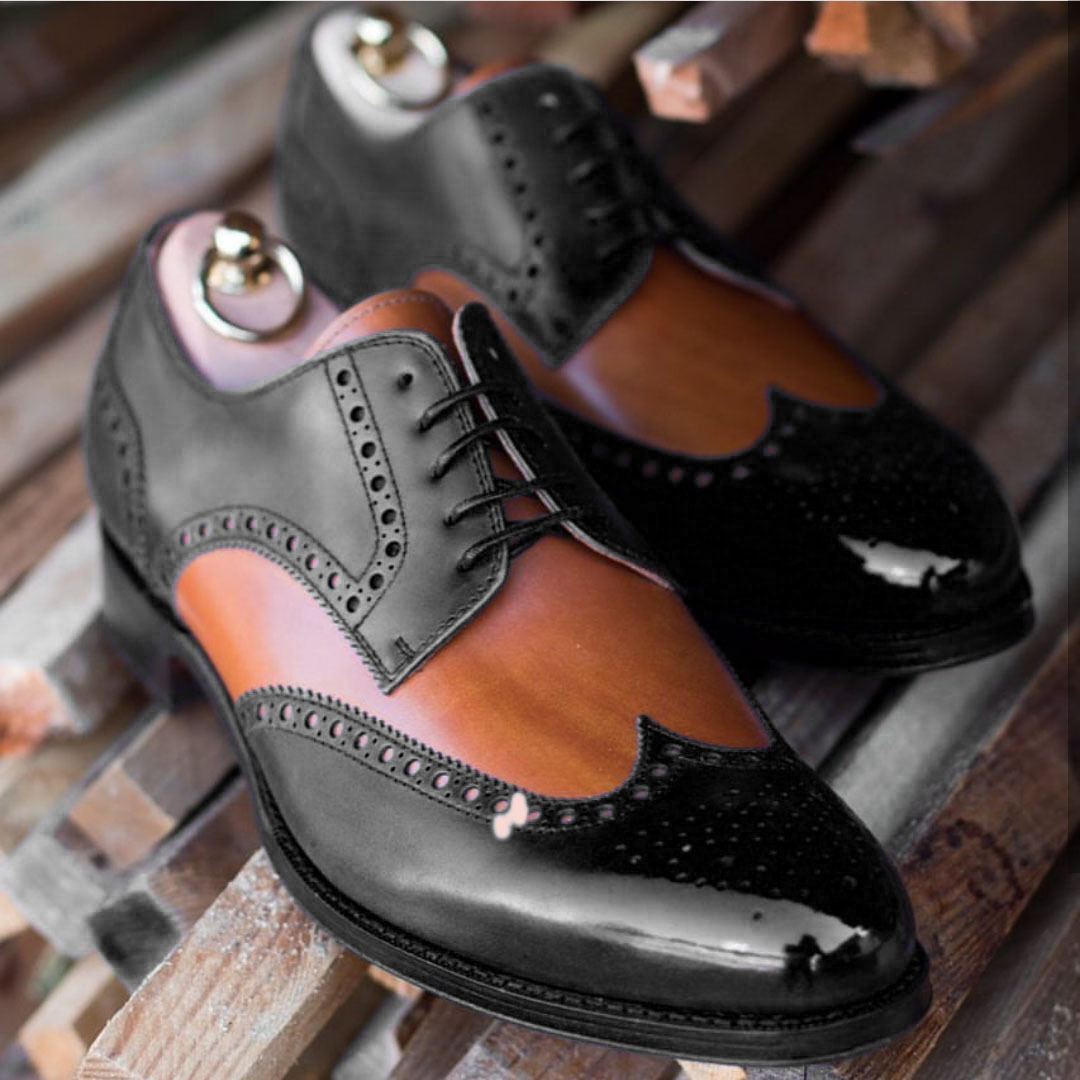 Handmade Men's Black & Brown Tan Wing Tip Brogues Oxford Leather Shoes