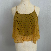 Iris Design Crop Top Womens Small Yellow Cami Sheer With Black Cross Back  - $12.20