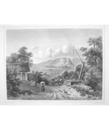 HUNGARY View of Sumeg & Castle - 1870s Original Engraving Print - $30.22