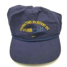 Vintage CMI Contractors Machinery Construction Hat Cap Snapback Blue Iowa - $7.91