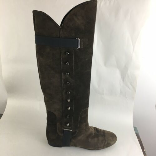 Vicini Tapeet Studded Knee Boots Brown Suede Italy 37 image 1