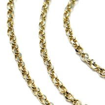 """SOLID 18K TWO TONE GOLD, 1.5 MM SIDE DIAMOND CUT ROLO CABLE CHAIN, BRIGHT 18"""" image 2"""