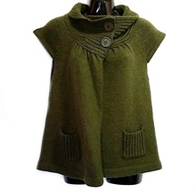 Dark Green Sweater Forever Womens Size S Knit Wool Blend Short Sleeve f535 - $12.86