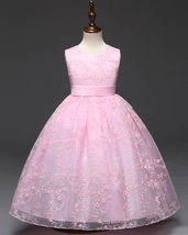 Pink Lace Girls Party Dress Pricess Flower Girl Dresses Belt Short Holod... - $32.85