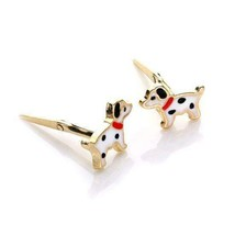 Unique Solid Real andralok 9ct yellow gold enamelled dalmatian stud earr... - $73.35