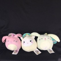"Squishmallows Clip On Keychains 3.5"" Bunnies & Lamb (Set Of 3) Easter - $13.22"