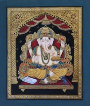 Tanjore Ganesh Painting Handmade South Indian Religious Thanjavur Relief... - $219.99