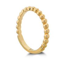 925 Sterling Silver Hof Signature Beaded Band Ring In 14k Yellow Gold Plated - £31.85 GBP
