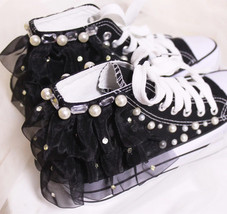 Black Lace up Sneakers,Women Sneakers,Crystals Sneakers,Women/Girls Canvas - $68.00