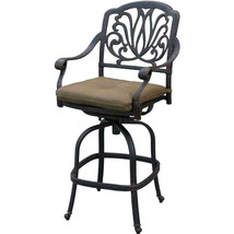 Bar set of 7 outdoor patio furniture cast aluminum 1 Elisabeth table 6 stools image 9