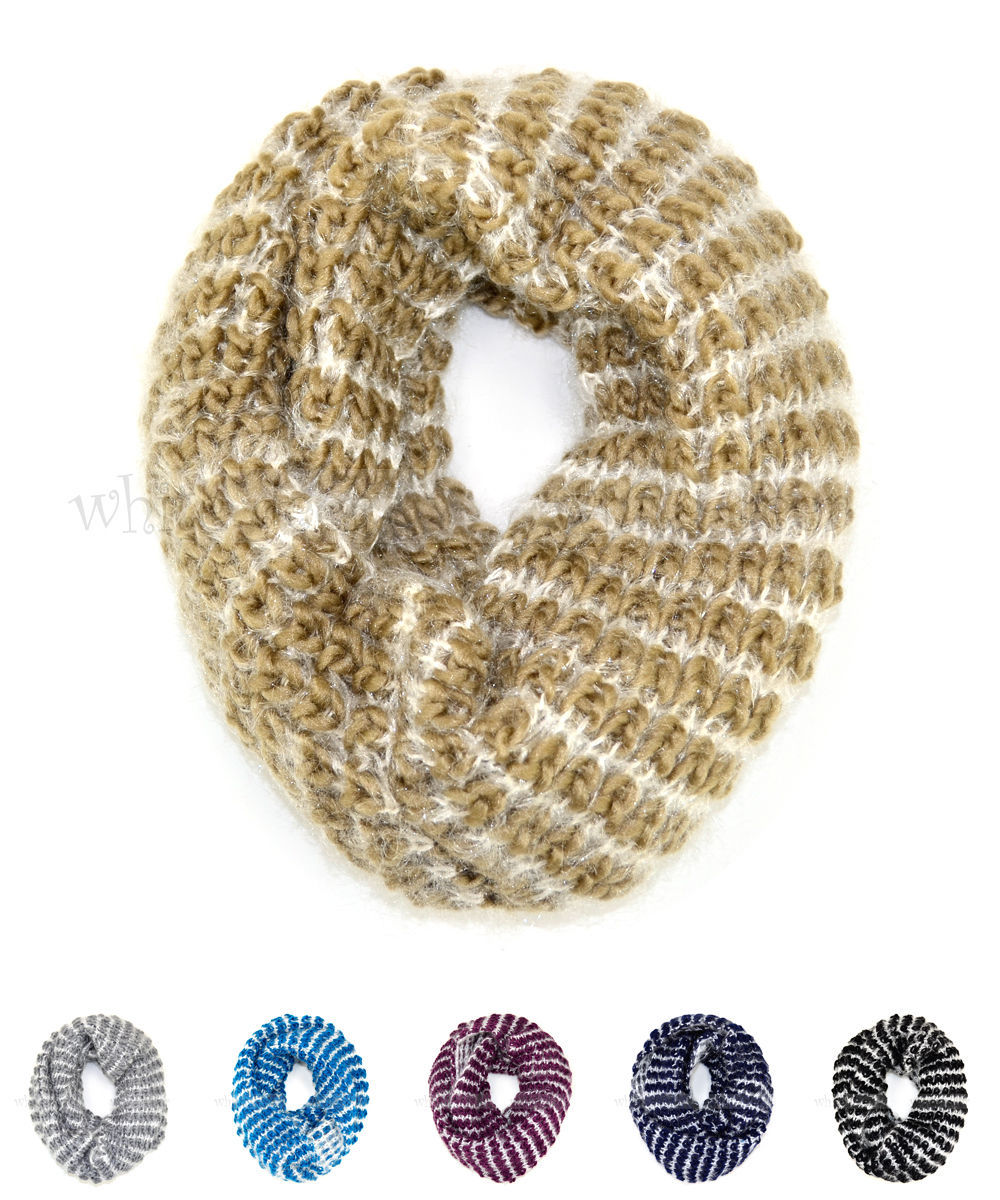 Primary image for Two Tone Knit Infinity Winter Scarf Elastic Warm Stripped Circle Loop Cowl White