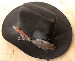 Resistol 5X Beaver Black Feather Cowboy Hat Conforming Country Western Sz 6 7/8 - $114.95