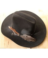 Resistol 5X Beaver Black Feather Cowboy Hat Conforming Country Western S... - $114.95