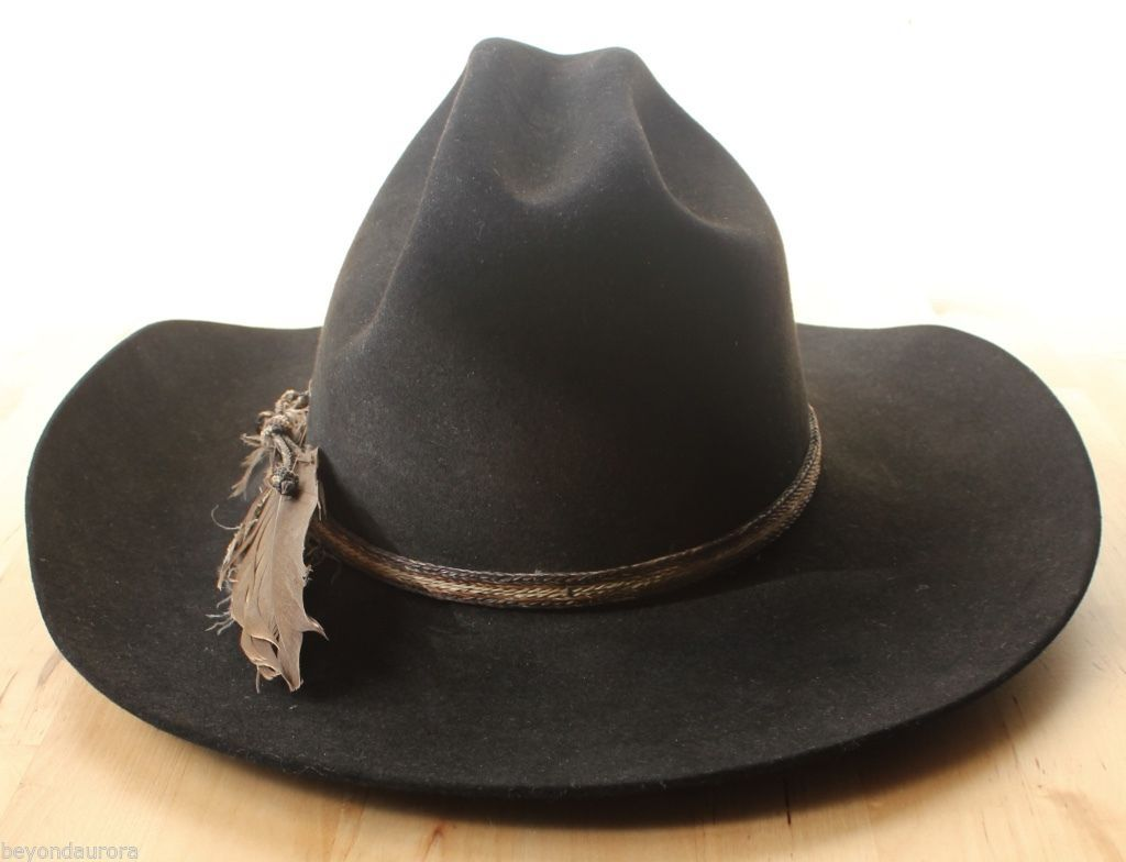 Resistol 5X Beaver Black Feather Cowboy Hat Conforming Country Western Sz 6 7/8