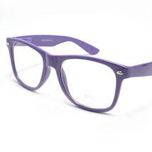 Clear Lens Eyeglasses Vintage Square Horn Rim Purple - $6.88