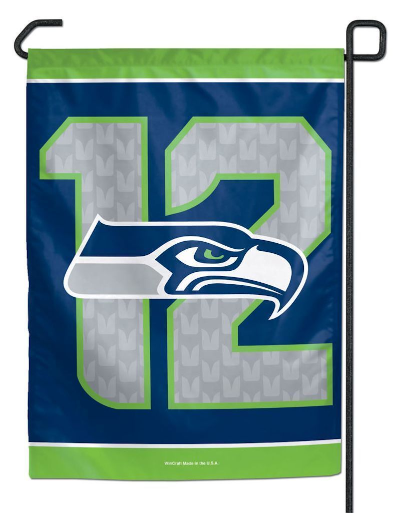 "12TH MAN SEATTLE SEAHAWKS TEAM GARDEN WALL FLAG BANNER 11"" X 15"" NFL FOOTBALL"