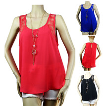 Sexy Scoop Neck CHIFFON Blouse TANK TOP Necklace Key Hole Beach Comfy Sh... - $18.99