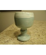 Vintage Cookson Pottery CP19 USA Teal Drip Glaze Footed Compote Planter ... - $22.28