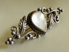 Sterling Silver 925 Mother of Pearl Teardrop Leaf & Berry Pin Brooch bar - $41.58