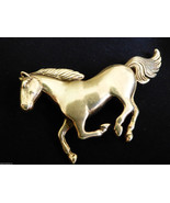 Vintage detailed sterling silver 925 signed GS  running Horse Pin Brooch - $81.18