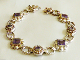 "Hand Crafted Sterling Silver 925 Amethyst Stones link bracelet 7""L - $286.11"