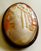 vtg Sterling Silver 925 Young Pretty Women Lady Cameo Pin Brooch / penda... - $123.75