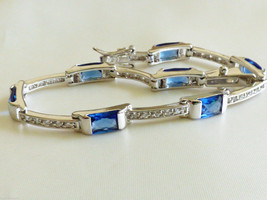 Modern style Sterling Silver 925 Sapphire color CZ Stone tennis bracelet... - £194.32 GBP