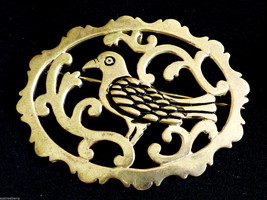 Handcrafted Filigree Sterling Silver 925 Paridise Bird Pin Brooch or Pendant - $88.11