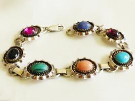 Hand Crafted Sterling Silver 925 Genuine Stones link bracelet Signed J.F... - $286.11