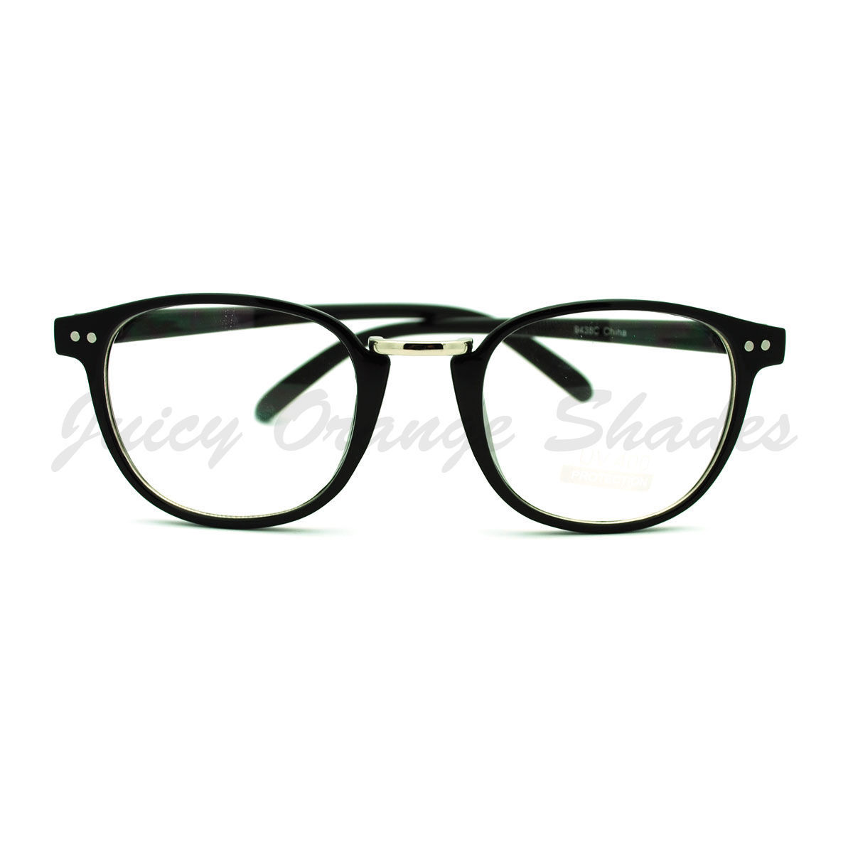 Clear Lens Smart Fashion Glasses Round Frame Metal Bridge