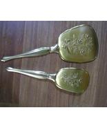 Vintage Gold tone Brush and Mirror set - $15.00
