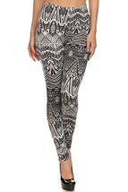 Women's Velour Full Length Cold Weather Legging, (Black and White Tribal, One... - $24.74