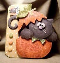 Handmade Greeting Card - 3D Cat in Pumpkin Halloween Card - $6.95