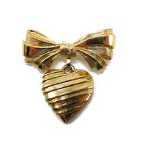 AVON Dangling Heart Brooch - Vintage Bow and Heart Pin - Gift for Grandma - $17.00