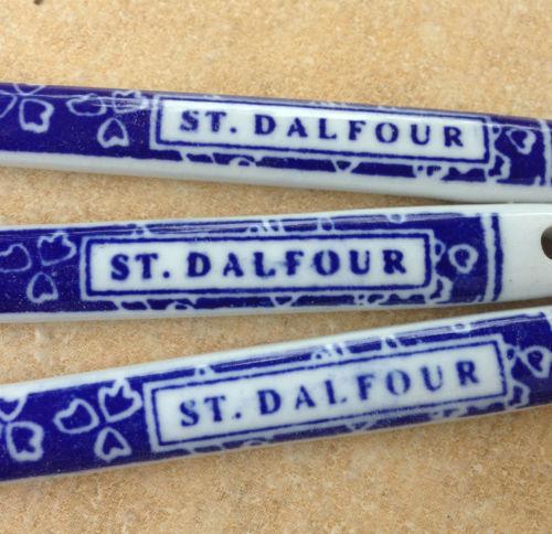 3 Vintage French Calico Porcelain St Dalfour Parfait Condiment Jelly Spoons