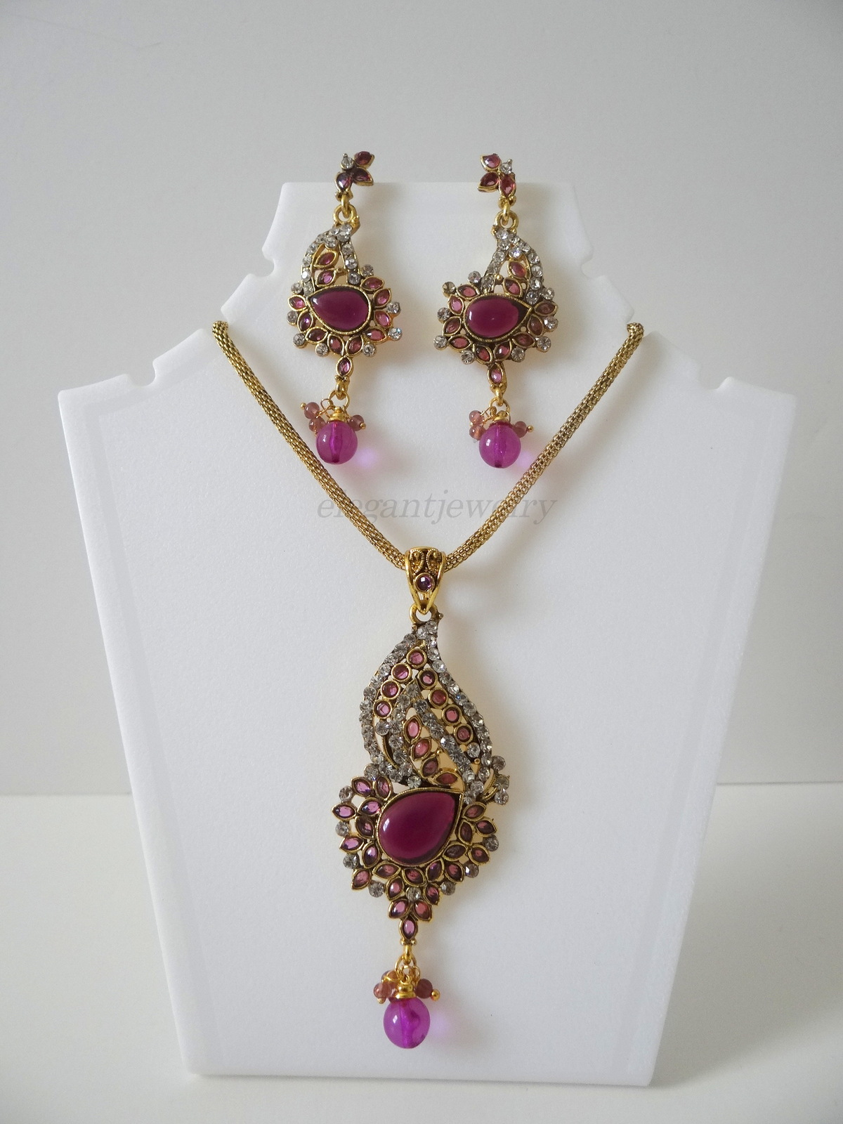 Purple kundan set