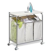 Laundry Hamper Rolling Cart Folding Flip Top Ironing Board Organizer Clo... - $80.31