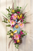 LED Lighted Bird House Pretty Floral Springtime Butterfly Summer Door Swag - $31.32