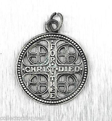 Rare Church War Cross Christ Died For Thee World War I II 1 2 Pendant Charm