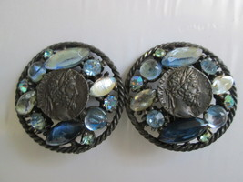 Vintage Capri Clip On Earrings. Faux Coin Center. Large Earrings. - $20.00