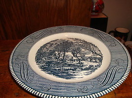8 Currier & Ives Dinner Plates Blue & White by Royal China The Od Grist ... - $56.10