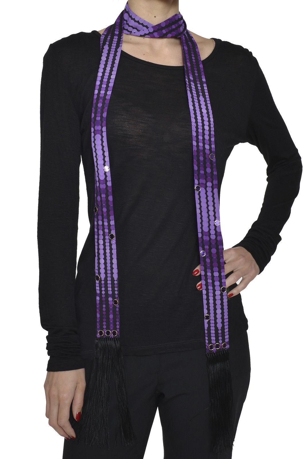 Gucci Women`s Silk Scarf 169178 3G035 70x1.3/4 Black Violet 1071