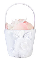 White Rose Design Flower Basket Flower Girl Basket Wedding Basket - $8.99