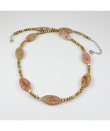Unakite, Freshwater Pearls and Swarovski Crystals Sterling Silver Necklace - $32.00