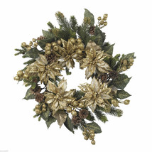 "Nearly Natural 24"" Golden Poinsettia Wreath 4912 Winter Home Decor - $59.99"