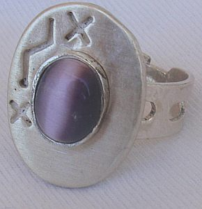 Primary image for Purple cat eye silver ring