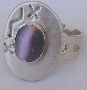 Purple cat eye silver ring 3