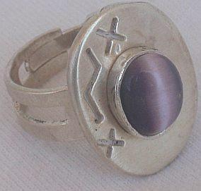 Purple cat eye silver ring